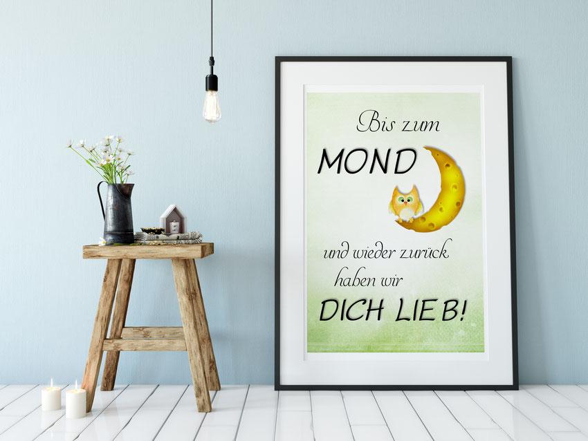 Kinderzimmer Deko Kunstdruck Bis zum Mond