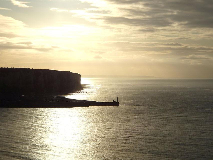 Coucher de soleil sur la mer à Mers les Bains