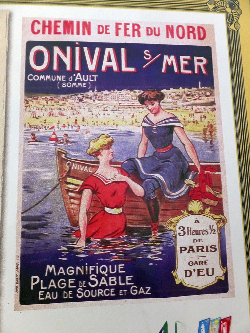 Affiche ancienne bains de mer à Onival sur Mer