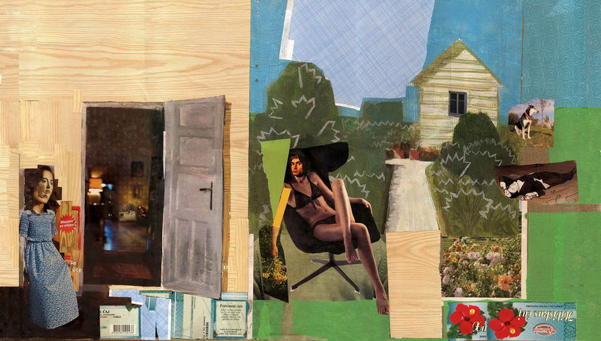 Backyard, 2008, 50x95cm, collage, wallpaper, acrylic on canvas