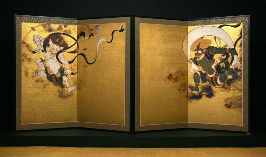 Les Dieux du Vent (Fujin) et du Soleil (Raijin) - peinture de Tarawaya Sotasu - Période Edo)