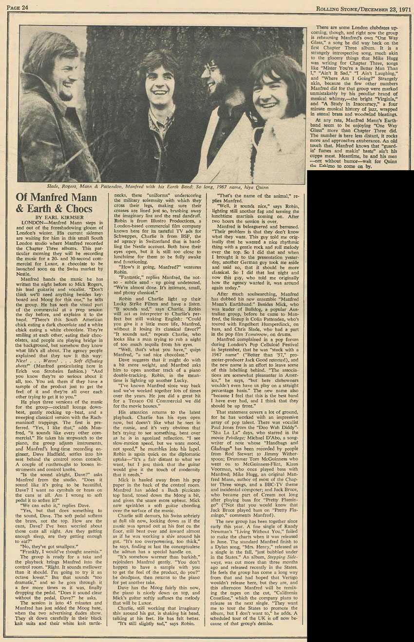 Rolling Stone (US) Manfred Mann's Earth Band article 1971