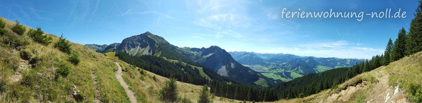 Rundumblick beim Spaziergang in den Allgäuer Bergen