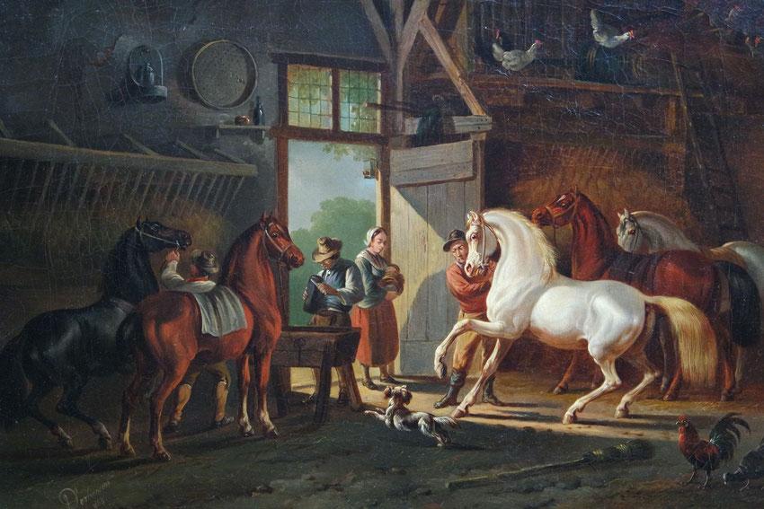 te_koop_aangeboden_een_schilderij_van_de_nederlandse_kunstschilder_albertus_verhoesen_1806-1881_stalinterieur_met_paarden