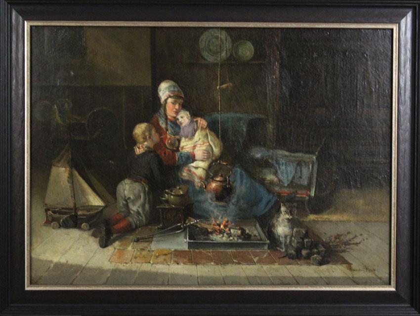 te_koop_aangeboden_een_interieur_schilderij_met_moeder_en_kinderen_van_de_nederlandse_kunstschilder_jan_jacob_lodewijk_ten_kate_1850-1929