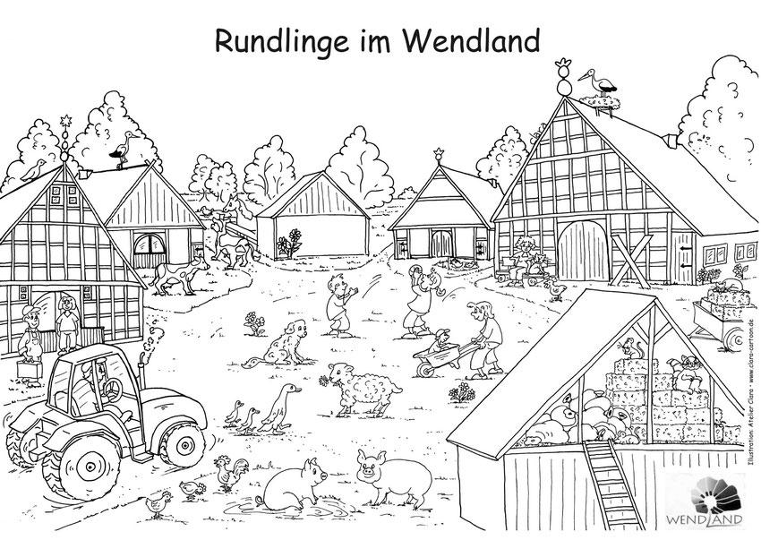 Rundlinge im Wendland Ausmalvorlage