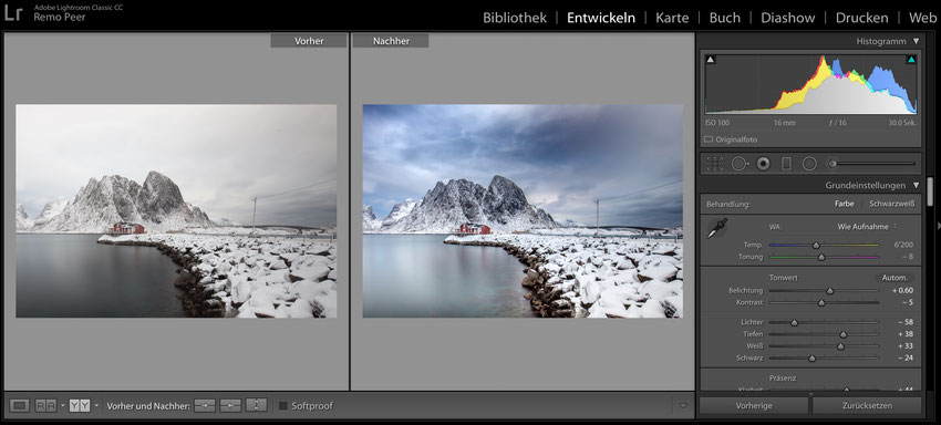 Bildbearbeitung durch Adobe Lightroom