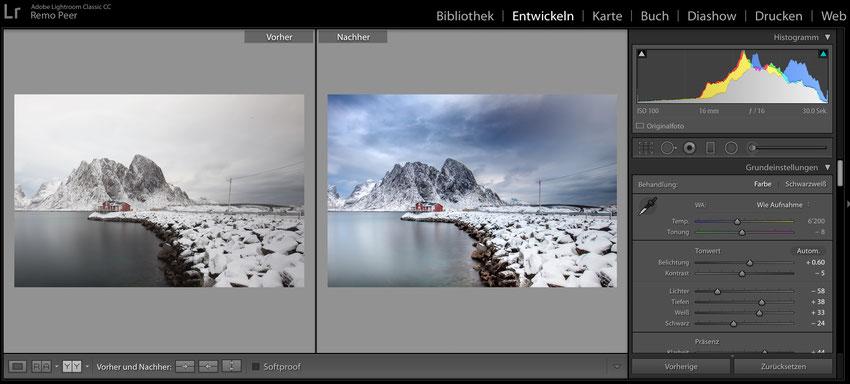 Bildbearbeitung durch Adobe Lightroom