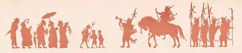 L'Officier. Lucien Métivet (1863-1932) : Aladin. Ombres chinoises en quinze tableaux. Flammarion, Paris, 1904 Première représentation en février 1904 au Théâtre des Mathurins