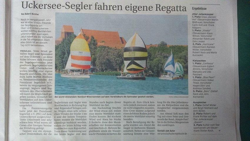 Prenzlauer Zeitung vom 30. Juli 2014