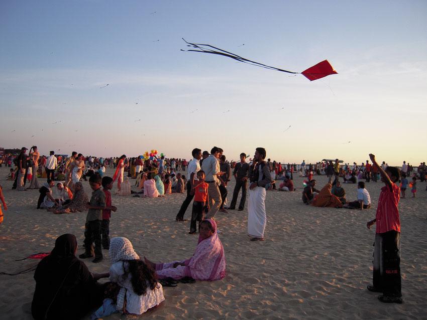 Seelenreise, Indien, Drachen, Strand in Kerala