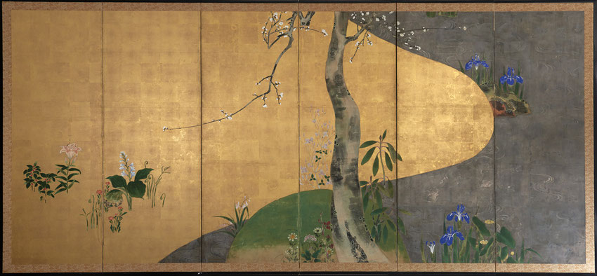 Byobu, Japanese Antique Screen 19th century, Rinpa school
