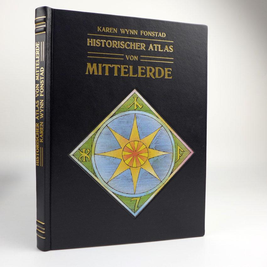 Historischer Atlas von Mittelerde, J.R.R. Tolkien, Buch mit schwarzem Ledereinband