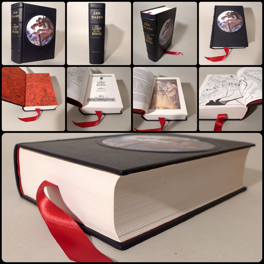 The Lord of The Rings custom binding full black leather book