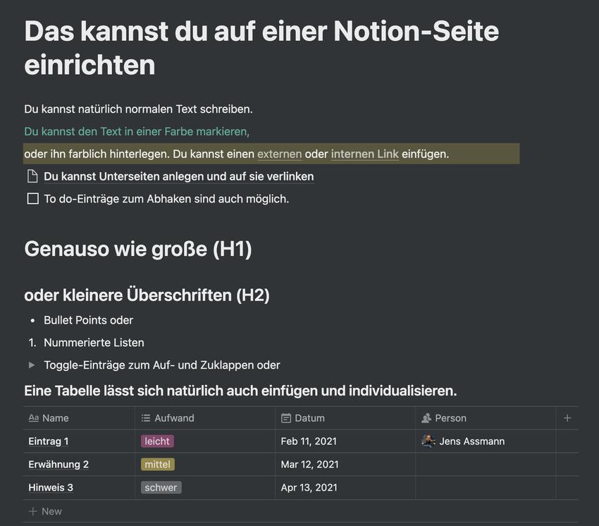 Screenshot zur Gestaltung einer Notion-Seite