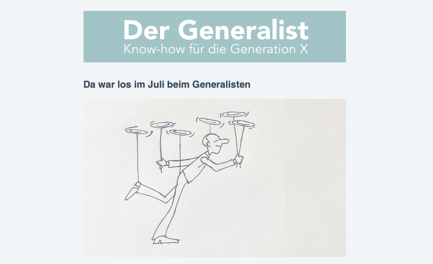 """Screenshot des Newsletters """"Der Generalist - Know-how für die Generation X"""""""