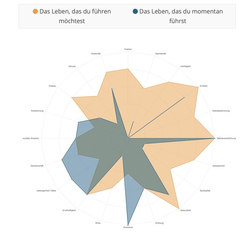 Screenshot einer Auswertung mit den gelb markierten Wünschen und dem blau hinterlegten Status quo