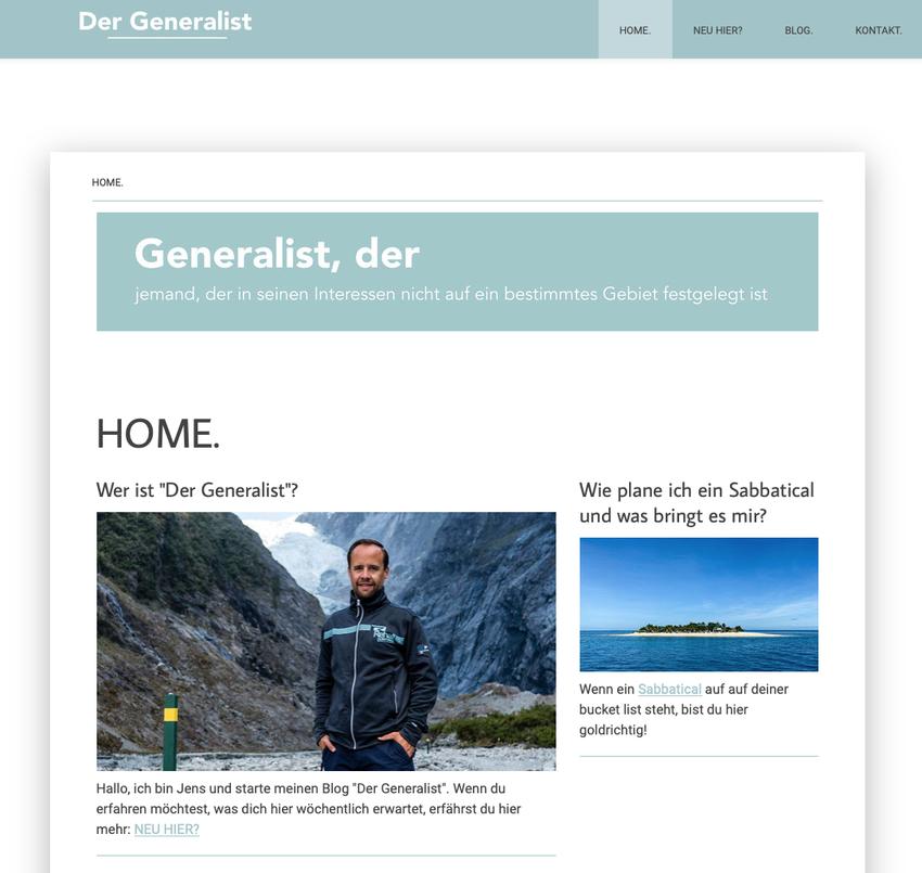 Erste Website von Der Generalist