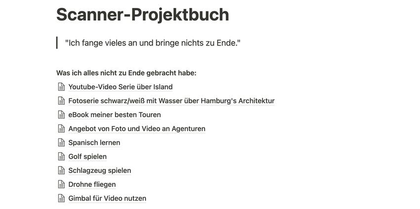 Scanner-Projektbuch