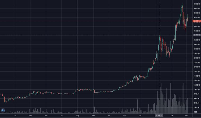 Wertentwicklung des Bitcoin zwischen September 2020 und März 2021