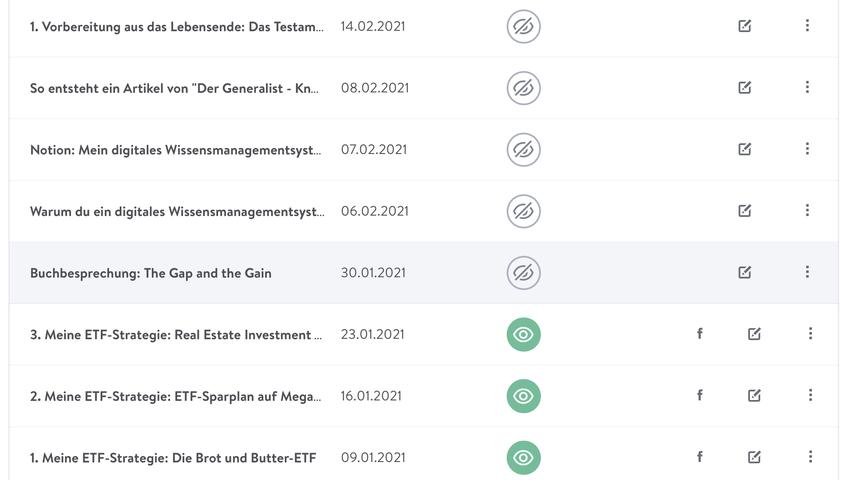 """Screenshot des Blog-Editors von Jimdo für """"Der Generalist"""""""