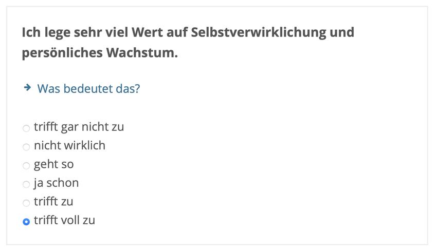 Screenshot einer Testfrage