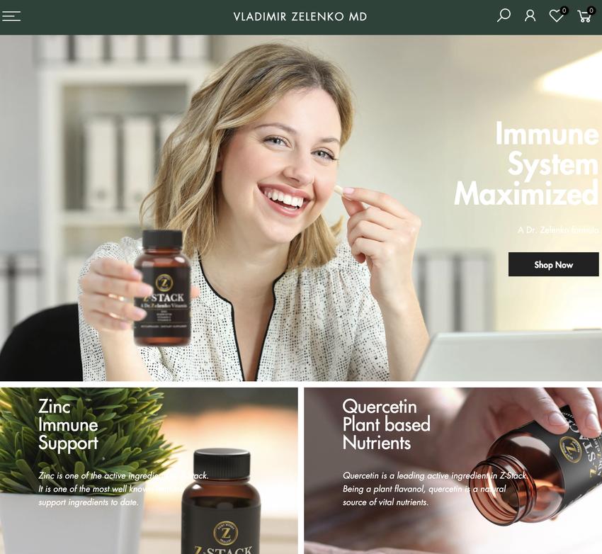 ぜレンコ博士公式の治療プロトコル「Z-STACK」は公式サイトで購入できる。亜鉛、ケセルチン、ビタミンC、ビタミンDを配合。