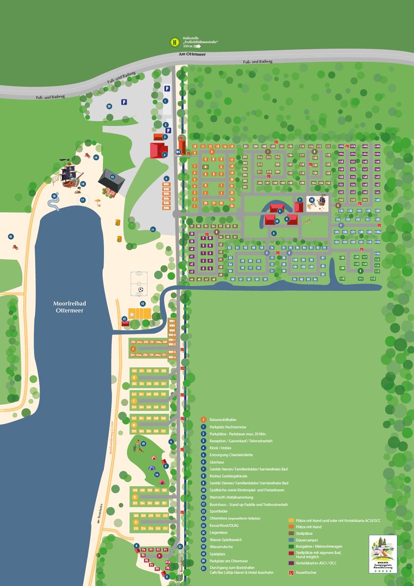 Platzplan Camping- und Bungalowpark Ottermeer Wiesmoor