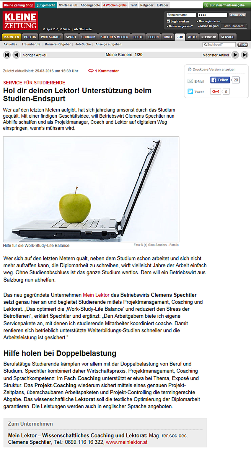 Kleine Zeitung Presse Mein Lektor