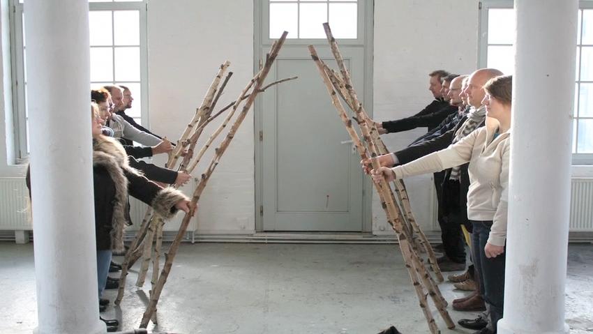 Szene aus einem Pixilationsfilm mit den angehenden FilmlehrerInnen.