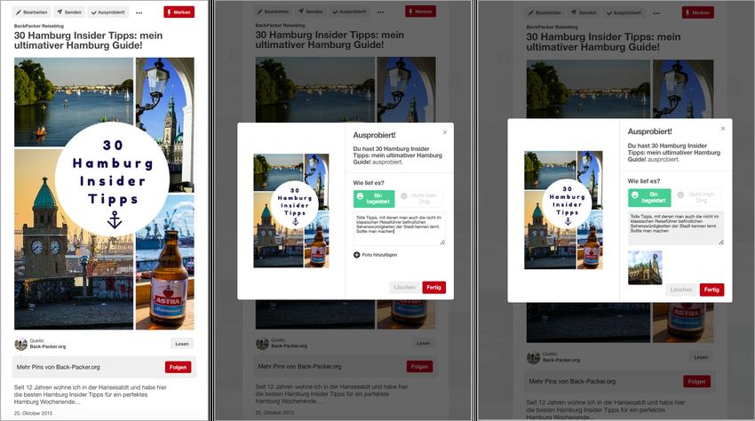 """Pinterest """"Ausprobiert""""-Feature am Beispiel eines Pins mit Hamburg-Reisetipps"""