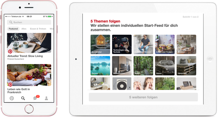 "Content Distribution und Curation in den Pinterest ""Featured Collections"" und lokalisierter ""Topic-Picker"" im Rahmen eines User-Signups"