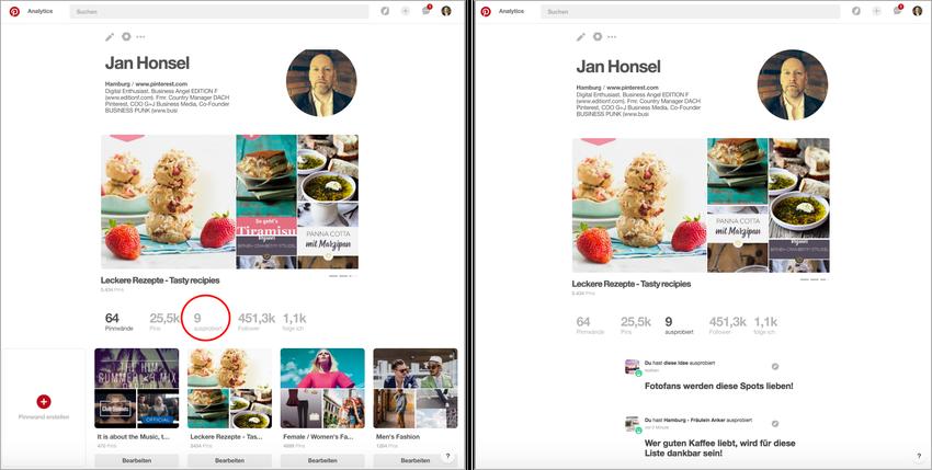 """Pinterest """"Ausprobiert""""-Feature in der Profil-Ansicht"""