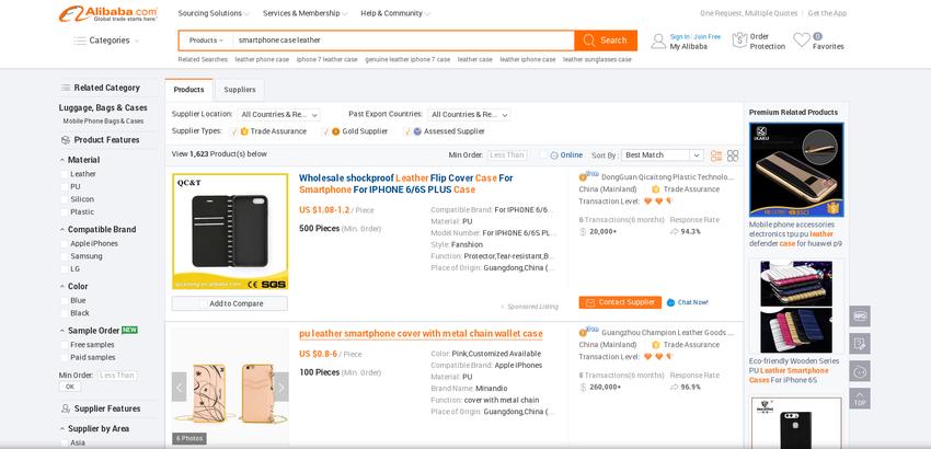 Eingrenzung der Suchergebnisse auf Alibaba