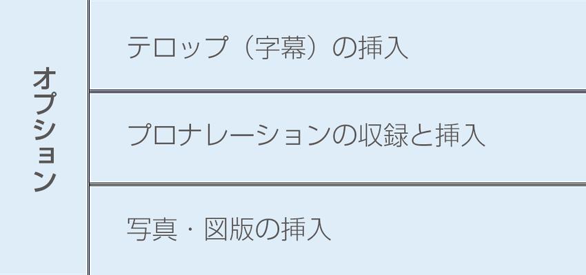 オプション:テロップ挿入、プロナレーションの収録と挿入、写真・図版の挿入