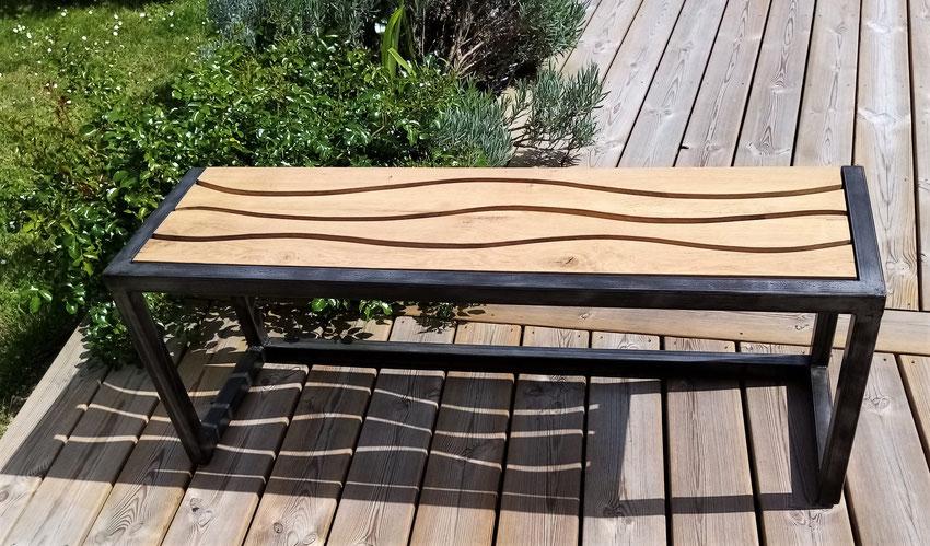 banc acier bois chêne