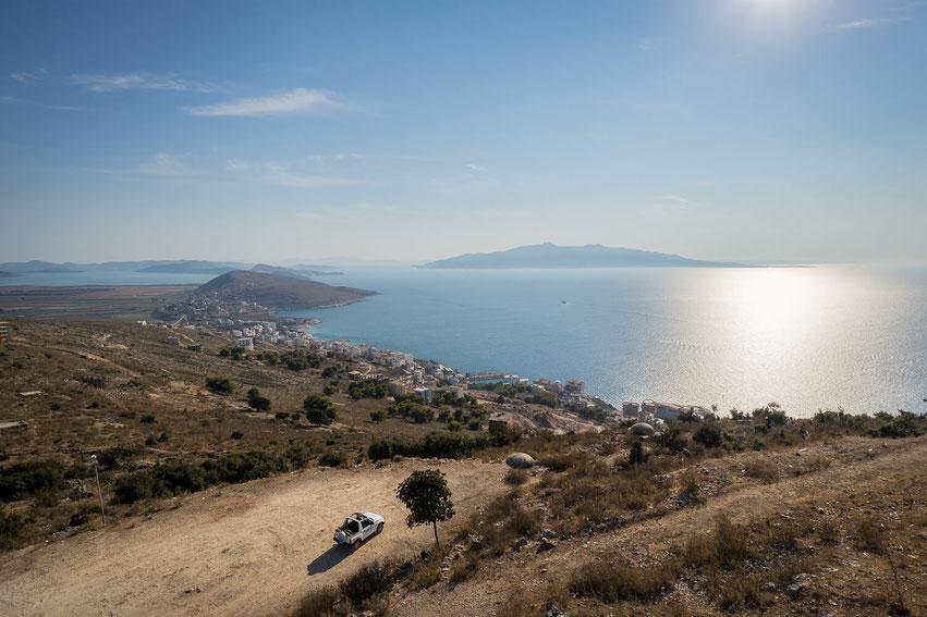 Balkan Roadtrip Albanien Blick auf Korfu