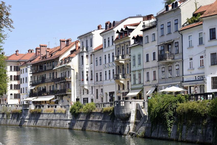 Ljubljana Häuser an der Ljubljanica