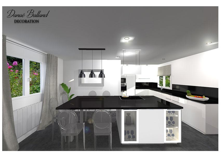 Cuisine ouverte design ilot central décorateur aménagement intérieur