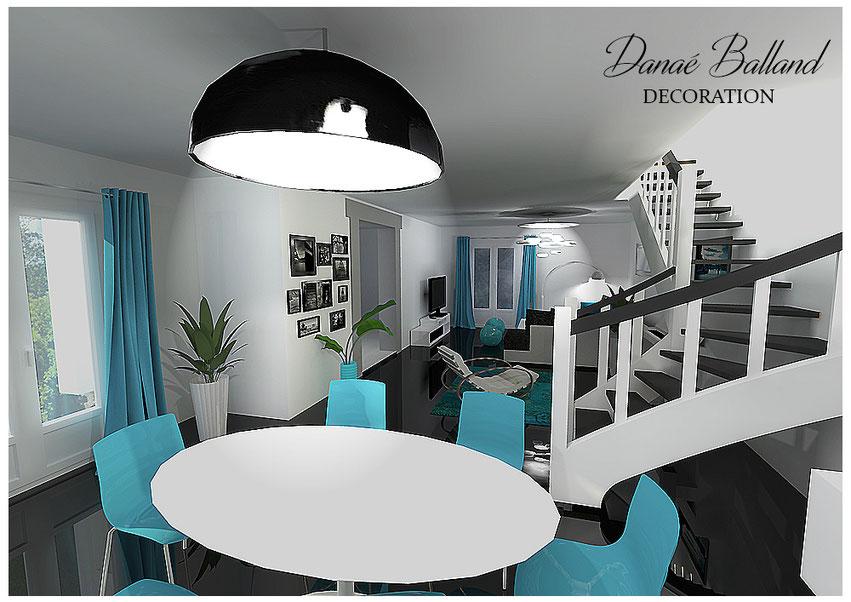 Décoration aménagement séjour salon ouvert moderne contemporain chic bleu