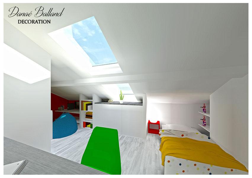 Combles aménagés chambre enfant velux fenêtre de toit