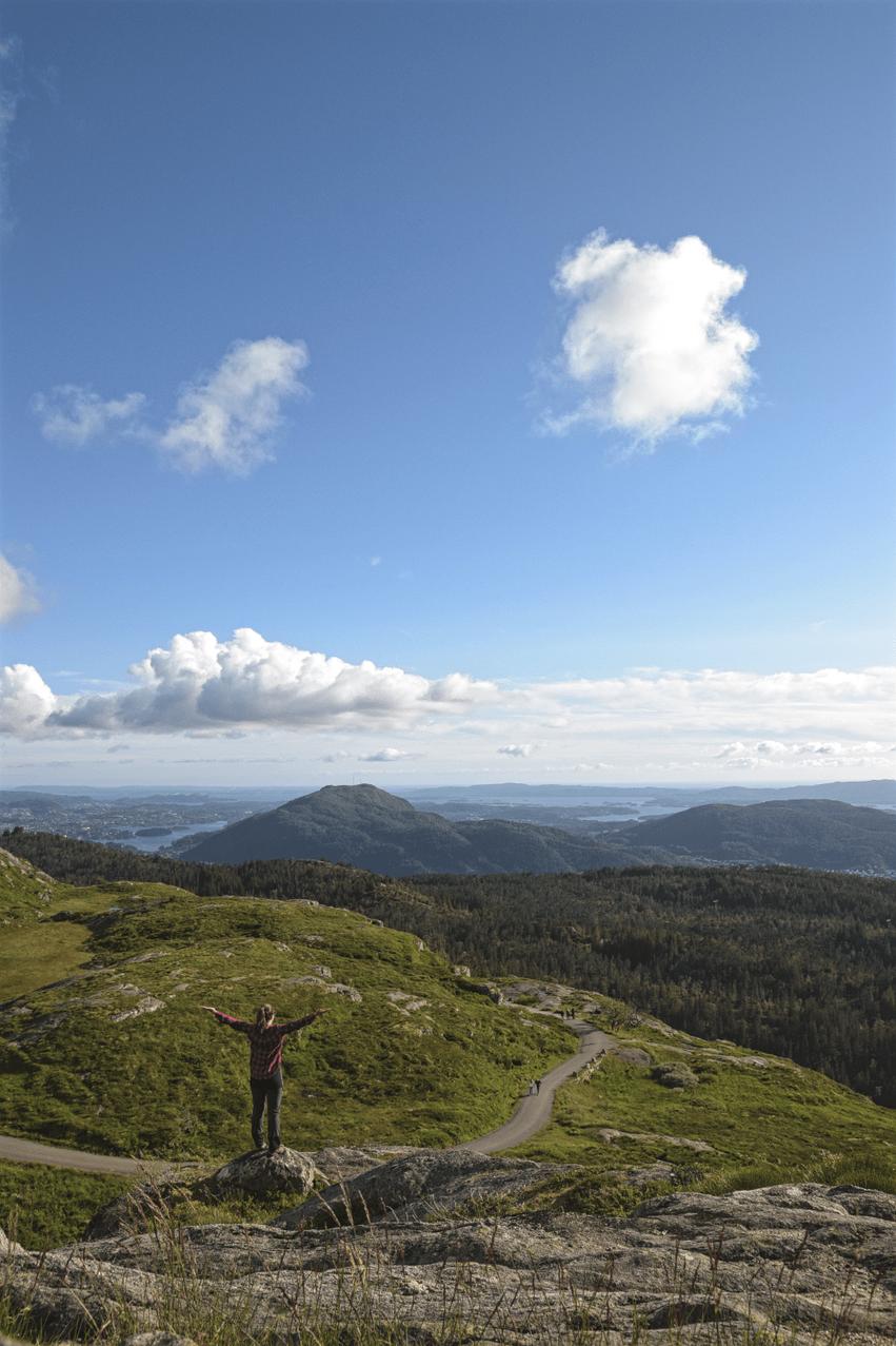 Wandern Bergen Fløyen Gipfel