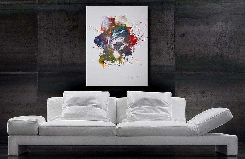 Wandbilder XXL - Acrylbild in Blau, Purple, Gelb, Blau, Rot u. Weiß - Wandbilderkunst.de, Leinwand auf Holzkeilrahmen. Fliesstechnik.