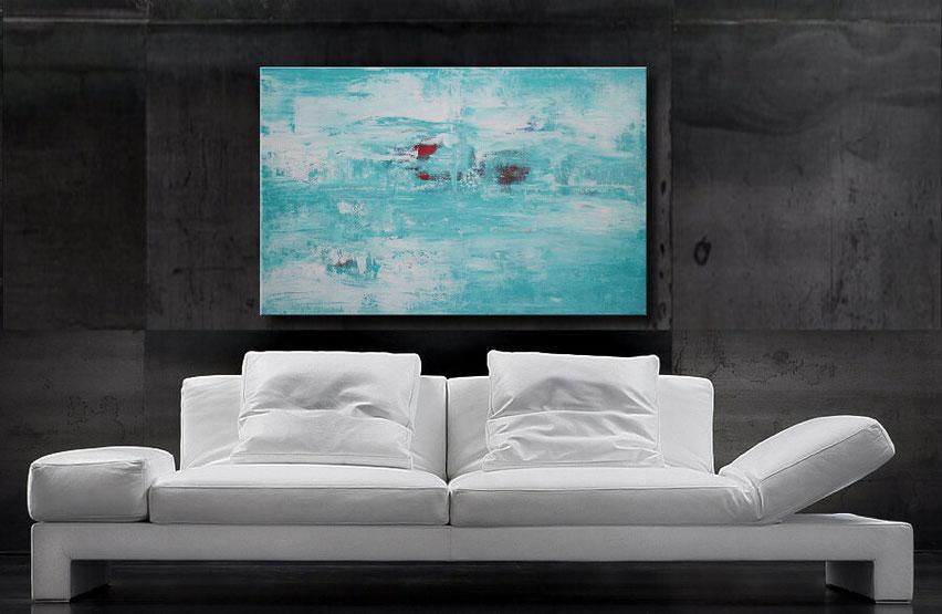 modernes acrylgemälde abstrakt 100 x 70 cm, Türis, Weiß, Rote Akzente