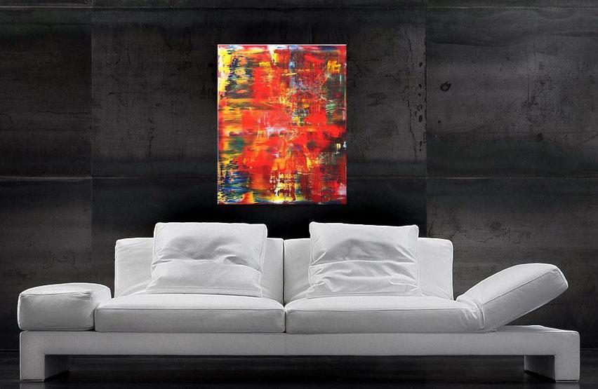 modernes rotes acrylgemälde 90 x 70 cm
