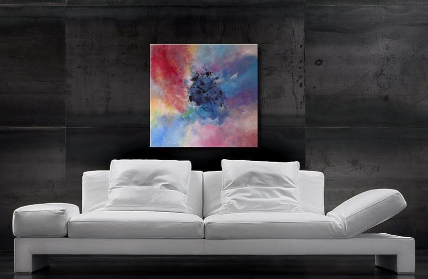 Gemälde kaufen-modernes Acrybild-schwarz-weiss,kupfer-Wandbilderkunst.de