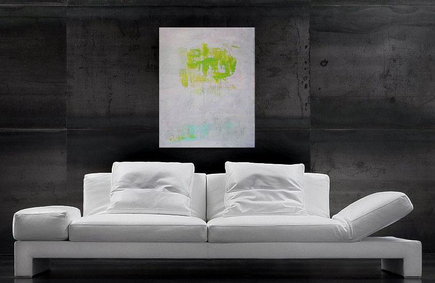 abstraktes gemälde in weiß, blau und grün - Burk Art - Jens Burkhardt