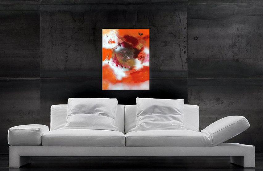abstraktes Gemälde in orange 70 x 50 cm