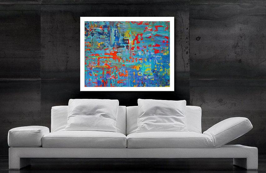 modernes acrylbild in blau 100 x 80 cm