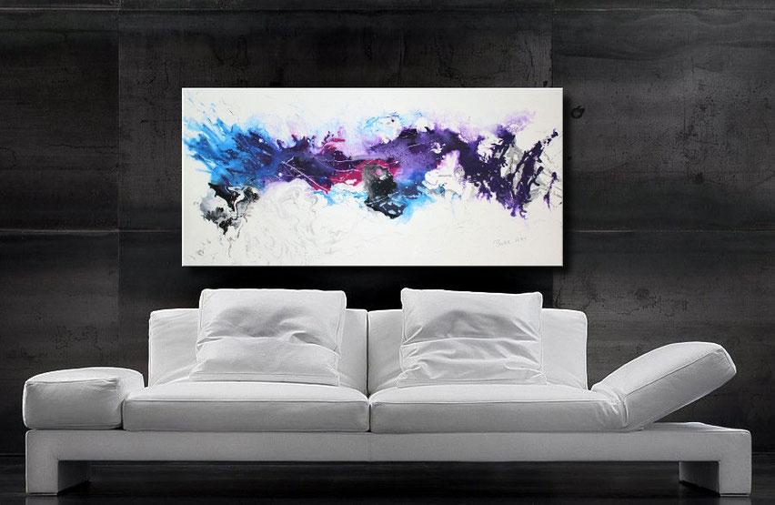 """Wandbilder XXL -""""Interstellar-A"""" 120x60 cm, schöne violett- und blautöne"""